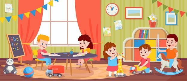 방에서 노는 아이들. 유치원에서 어린이 활동. 만화 유치원 소년과 소녀는 장난감을 가지고 그립니다. 유아와 벡터 놀이방입니다. 엔터테인먼트를 즐기는 여성 및 남성 캐릭터