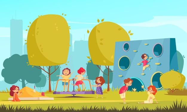 Дети играют в летнем городском парке плоской иллюстрации