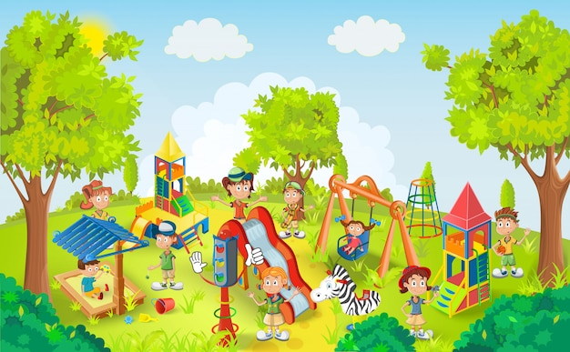 Дети играют в парке иллюстрации