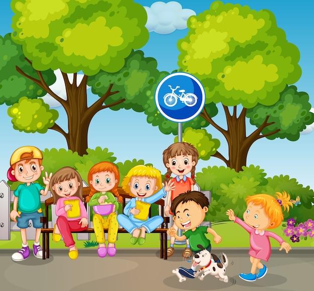 公園のシーンで遊ぶ子供たち