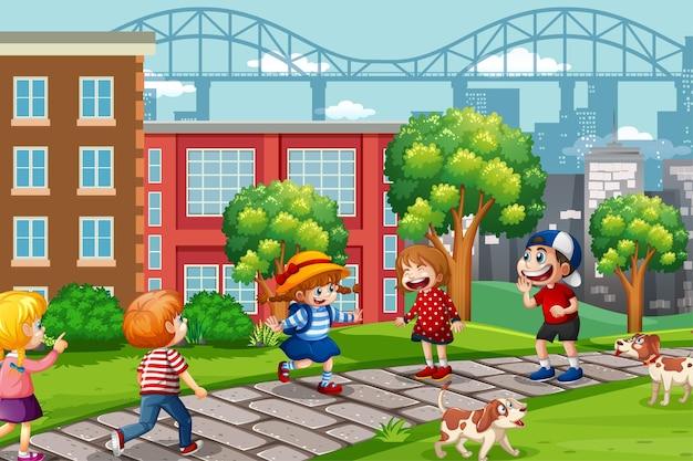 遊び場のシーンで遊ぶ子供たち