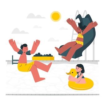 Дети играют в бассейне иллюстрации концепции Бесплатные векторы