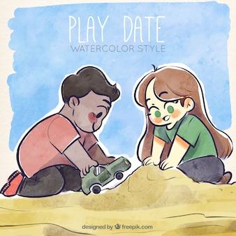 砂で遊んでいる子供たち