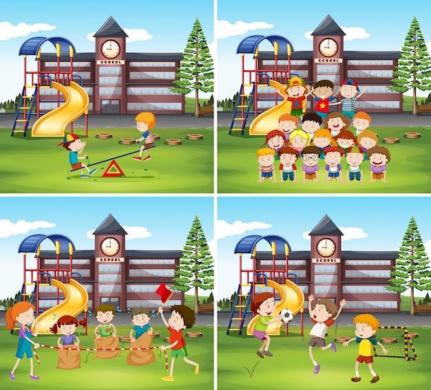 学校の敷地内で遊んでいる子供たち