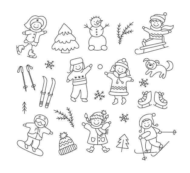 Дети играют в снегу, катаются на санках, лыжах, коньках, сноуборде и устанавливают зимние объекты каракули. ручной обращается снеговик, лыжи, коньки, собака. векторная иллюстрация на белом фоне