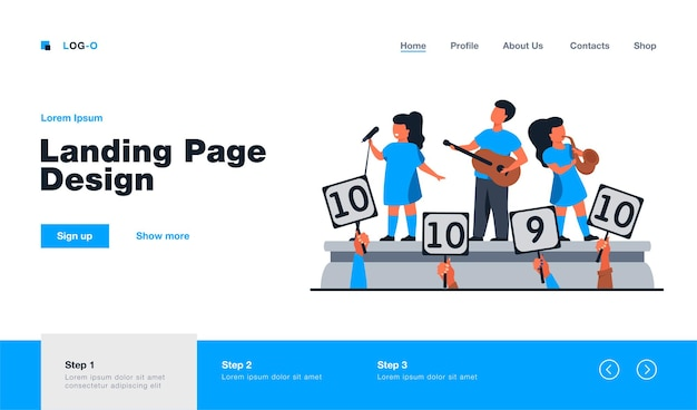 Children playing instrument and singing before jury. signs with scores, performance, stage flat  illustration. talent show, competition concept website design or landing web page