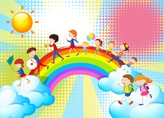 Children playing music in band over the rainbow