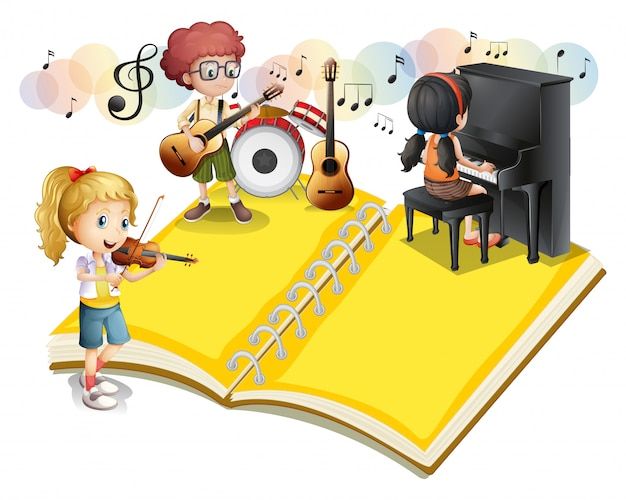 Children playing musical instrument