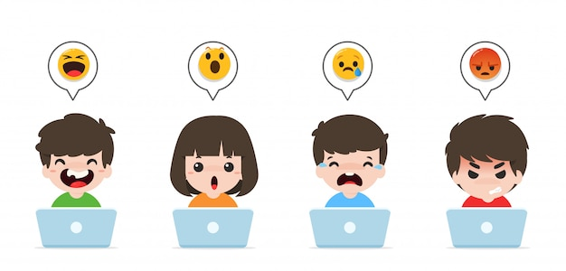 Children playing notebooks and emoticons for laughing, excited, crying, and angry