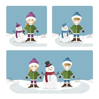 맑은 겨울 날에 노는 아이들