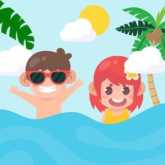 ビーチの夏に遊ぶ子供たち