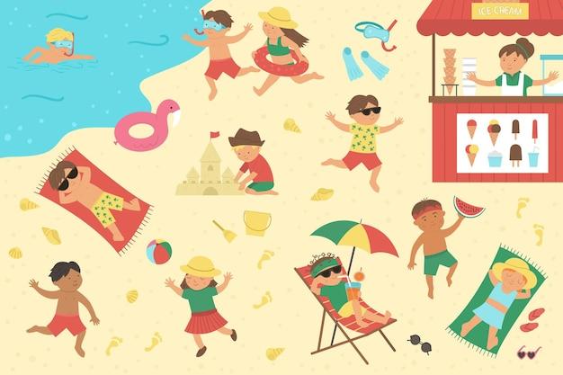 해변에서 놀고 여름 활동을하는 아이들