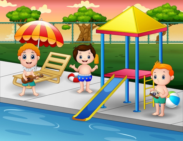 Children playing in outdoor swimming pool