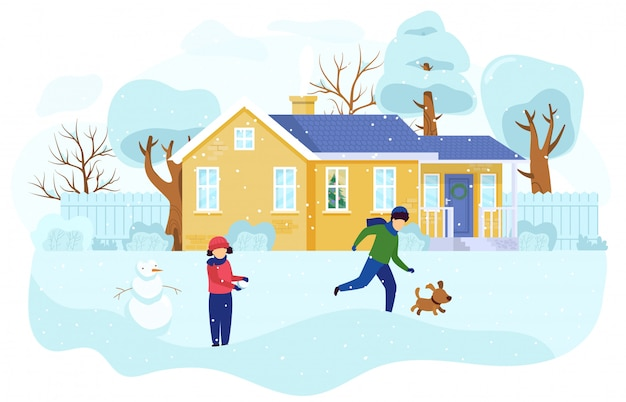 Children playing outdoors in winter, kids building snowman, people illustration
