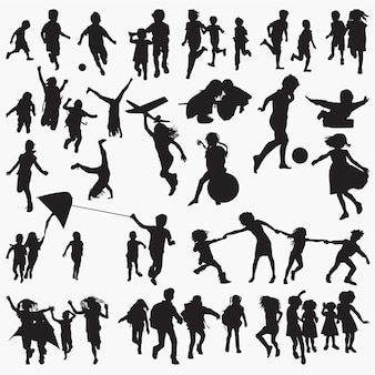 Children playing outside silhouettes