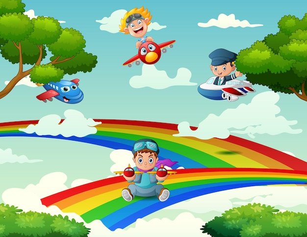 Children playing a plane on a rainbow