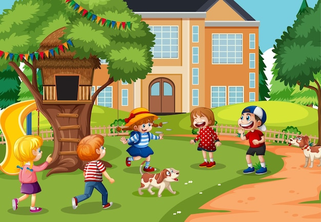 Children playing in the playground scene