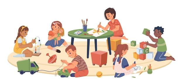 Children playing in playroom kindergarten kids