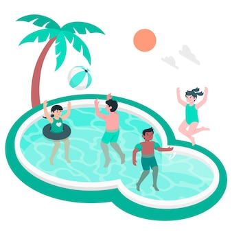 Children playing in the pool concept illustration