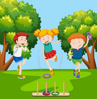 Children playing ring toss scene
