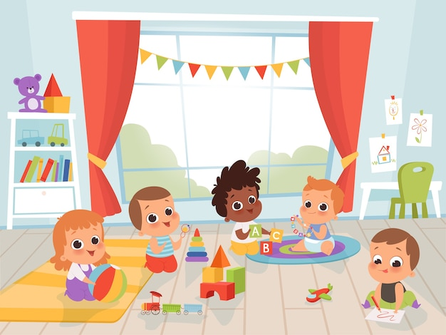 Детская игровая комната. маленький новорожденный или ребенок 1 года с игрушками в помещении детские персонажи