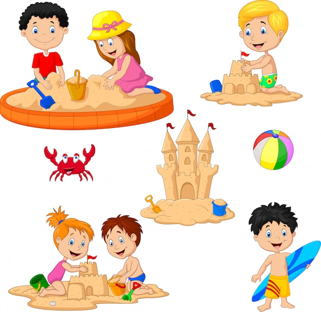 Children playing sand castle and surfboard