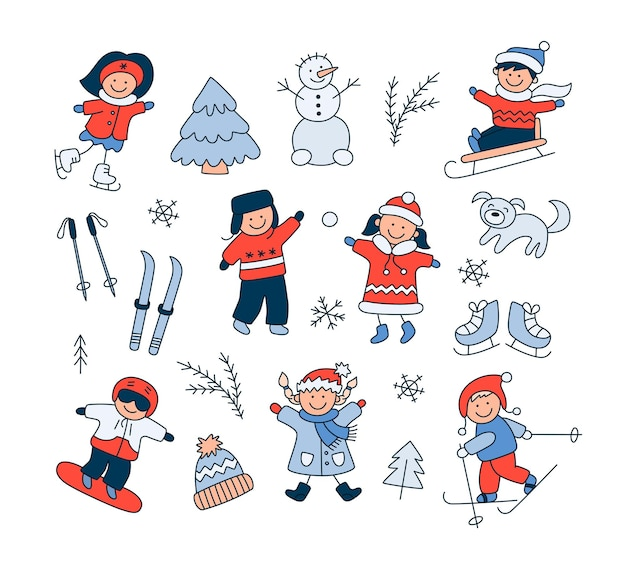 Children playing in the snow, sledding, skiing, skating, snowboarding and set doodle winter objects. hand drawn snowman, ski, skates, dog. vector illustration on white background
