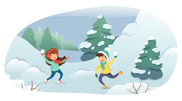 Children playing snowballs cartoon illustration. winter entertainment, outdoor activity, leisure, active rest concept.