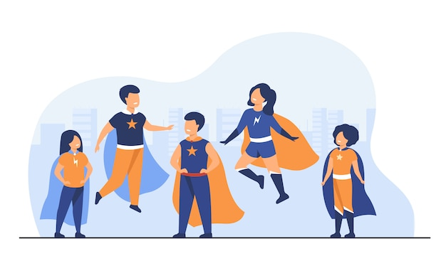 スーパーヒーローのキャラクターを遊んでいる子供たち