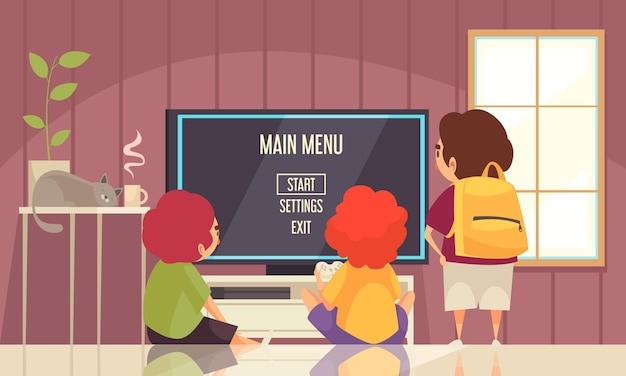 Children playing together video games on game console cartoon