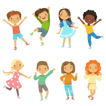 Children playing. vector funny characters isolate