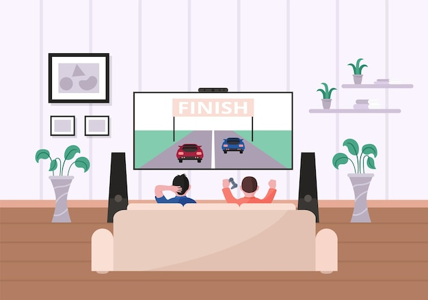 Children playing video game in living room sit front of tv