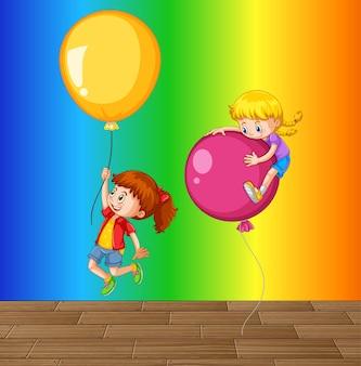 Bambini che giocano con palloncini su sfondo sfumato arcobaleno