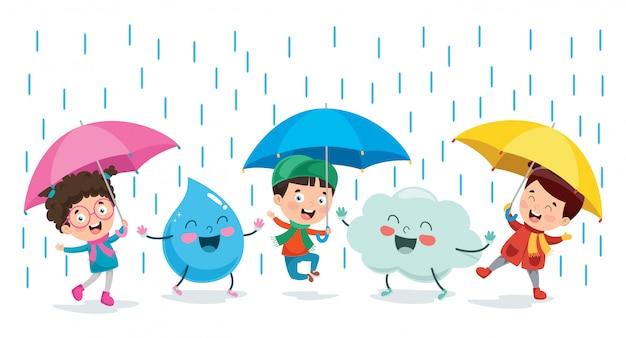 雲と雨のドロップキャラクターと遊ぶ子供たち
