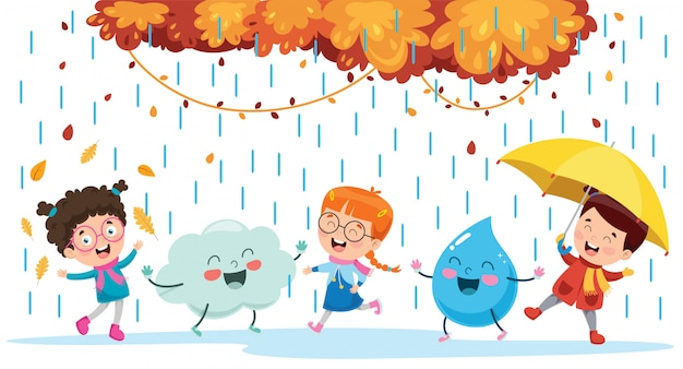 Children playing with cloud and rain drop character