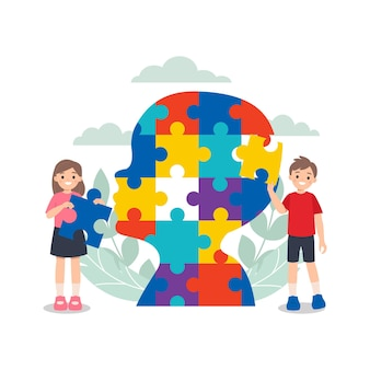 Children playing with colorful head shaped jigsaw puzzle.  world autism awareness day.