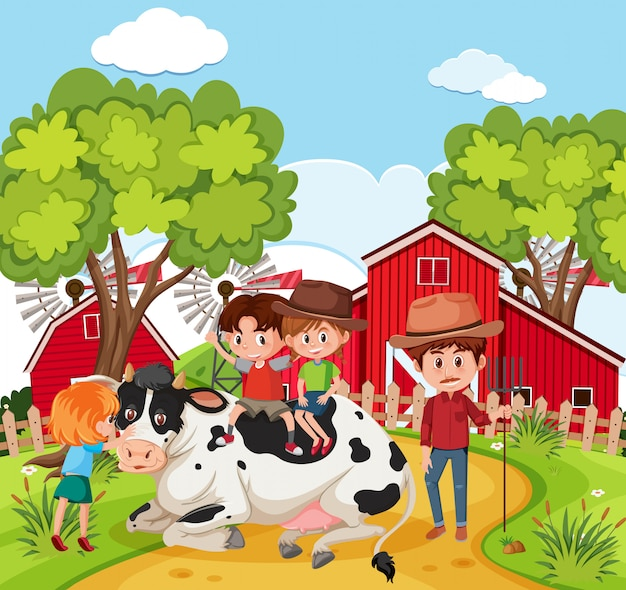 Children playing with cow