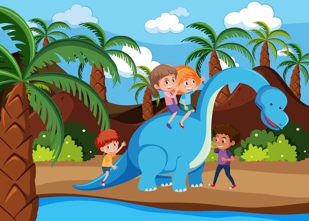 Children playing with dinosaur