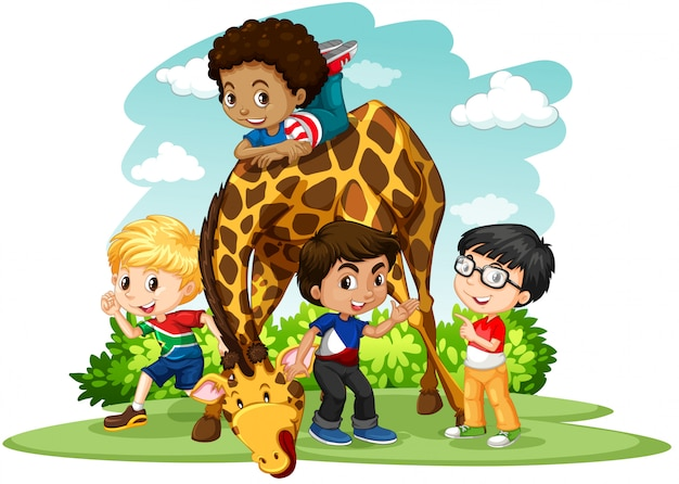 Children playing with giraffe