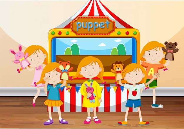 Children playing with hand puppets