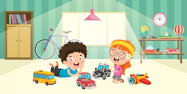 Children playing with racing cars toys