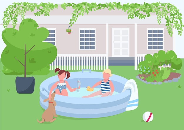 Children in pool flat color illustration. girl and boy in inflatable tub on backyard. child swim in water. toddler play. kids 2d cartoon characters with landscape on background