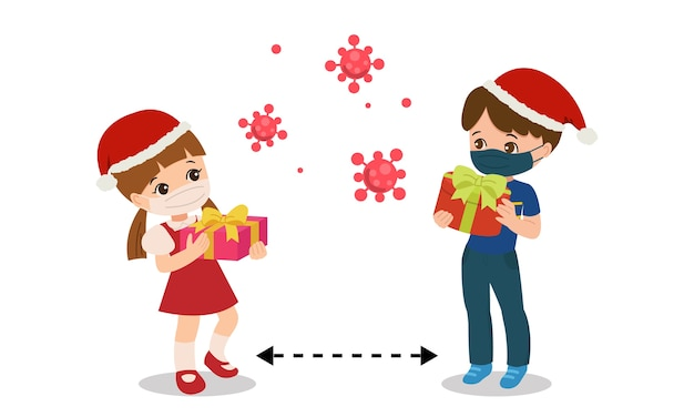Children practice social distancing celebrating christmas party. stay safe from corona virus
