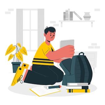 Children preparing their backpack concept illustration