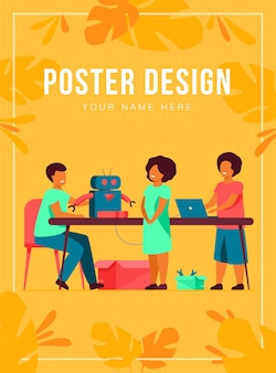 Children presenting cyborg at robotics class poster template