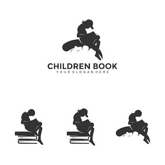Children read book dreams logo designs concepts illustrations vectors