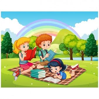 Children read in a park