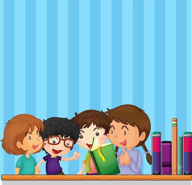 Дети читают книгу и синий фон