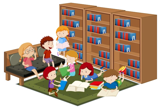Children reading booking in library isolated