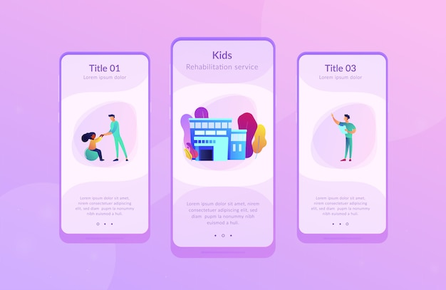 Children rehabilitation center app interface template.